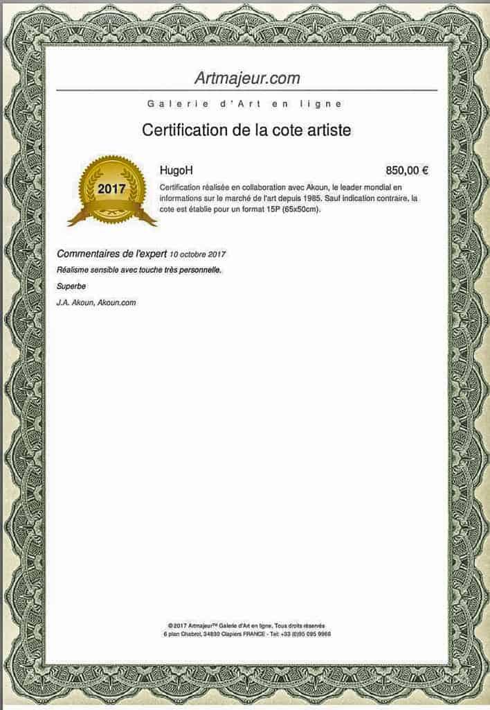 Hugo h artiste peintre cot par art majeur et j a akoun for Cotation akoun
